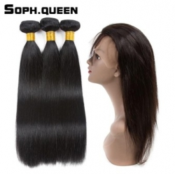 3|4 пучка на сетке soph queen Straight Wave Bundles With 360 Lace Frontal [32849390464]